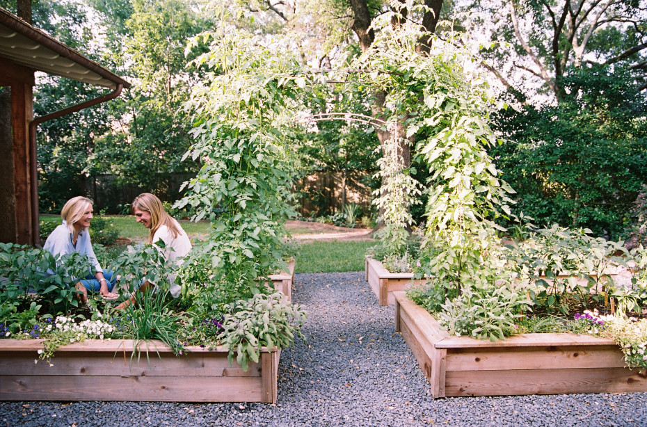Nicole Burke and client in her kitchen garden for Kitchen Garden Revival