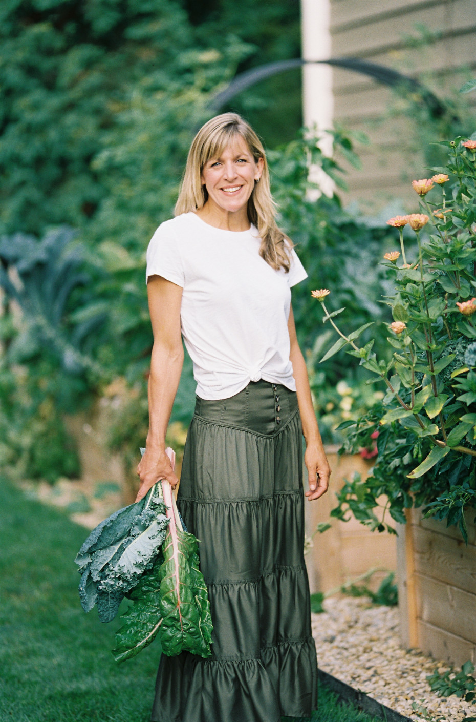 Nicole Burke, Author of Kitchen Garden Revival in Anthropologie Skirt